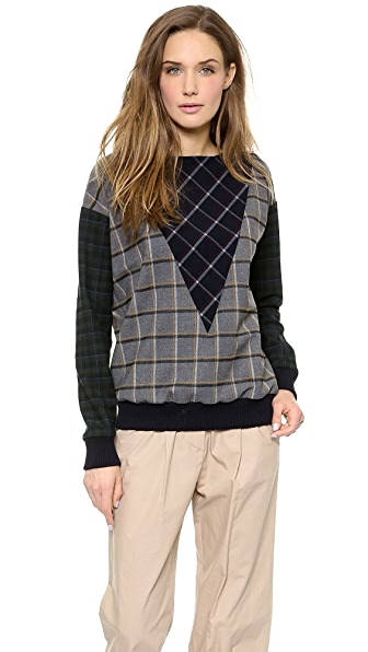 Band of Outsiders Mixed Plaid Sweatshirt Top