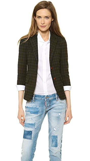 Band of Outsiders Plaid Two Button Schoolboy Blazer