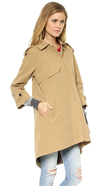 Band of Outsiders Cutaway Trench Coat with Blanket Lining