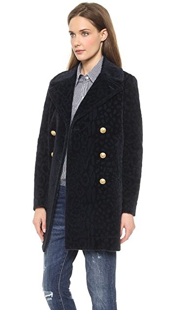 Band of Outsiders Furry Leopard Classic Pea Coat