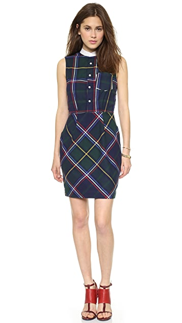 Band of Outsiders Sleeveless Shirtdress with Contrast Collar