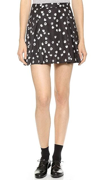 Band of Outsiders Raspberries Pleated  Miniskirt