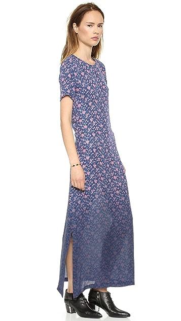 Band of Outsiders Dip Dye Mini Rose Silk Maxi Dress