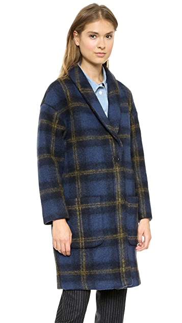 Band of Outsiders Windowpane Coat with Fur Collar
