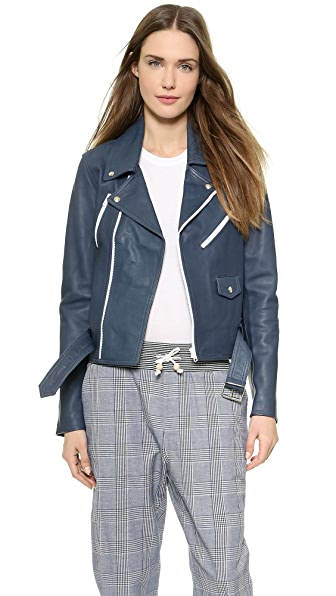 Band of Outsiders Leather Multi Zip Moto Jacket