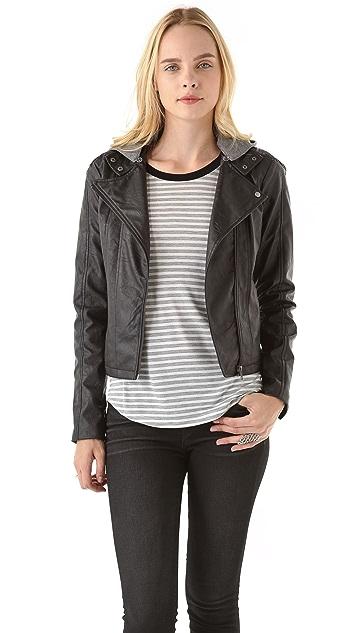 BB Dakota Faux Leather Jacket with Fleece Hood
