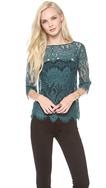 BB Dakota Josette Scallop Lace Blouse
