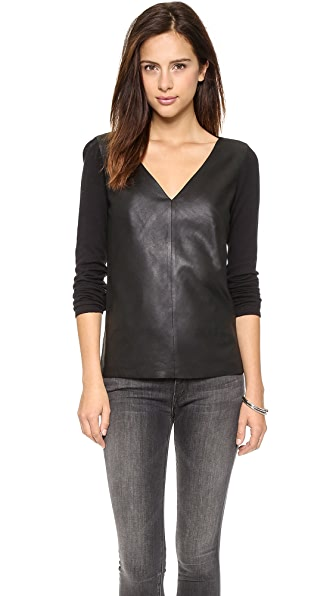 BB Dakota Dakota Collective Lennie Leather Front Sweater