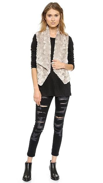 BB Dakota Stanic Draped Faux Fur Vest