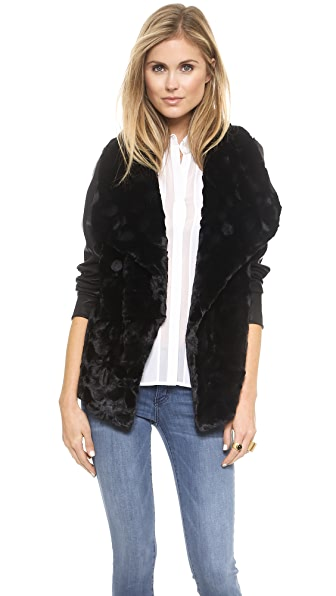 BB Dakota Faux Fur Drape Front Jacket