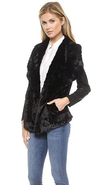 BB Dakota Faux Fur Drape Front Jacket