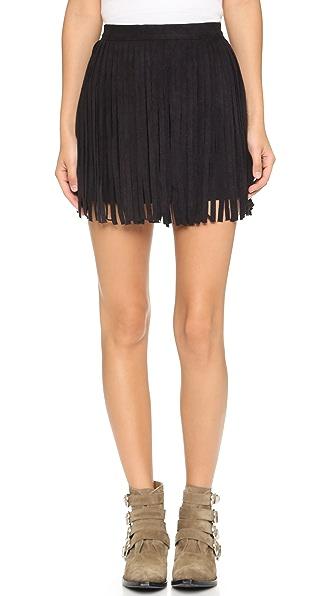Bb Dakota Narelle Faux Suede Fringe Skirt - Black