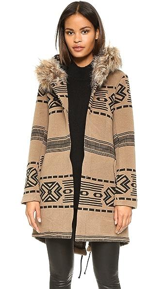 BB Dakota Brenden Jacquard Coat W/Fur Trim Hood