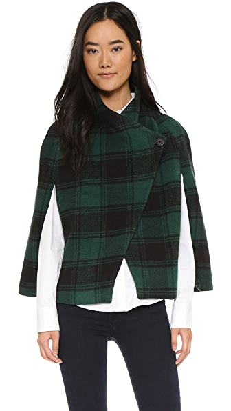 Bb Dakota Jack Seneca Plaid Moto Cape - Storm Green