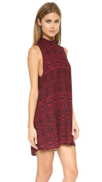 BB Dakota Skyla Siesmic Print Mock Neck Dress