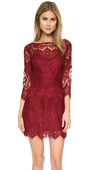 Bb Dakota Natalia V Back Lace Dress - Bordeaux