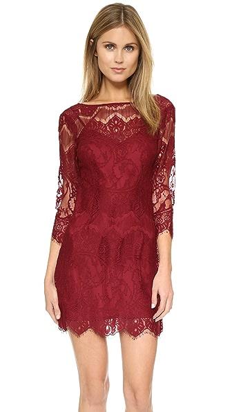 Bb Dakota Natalia V Back Lace Dress - Bordeaux
