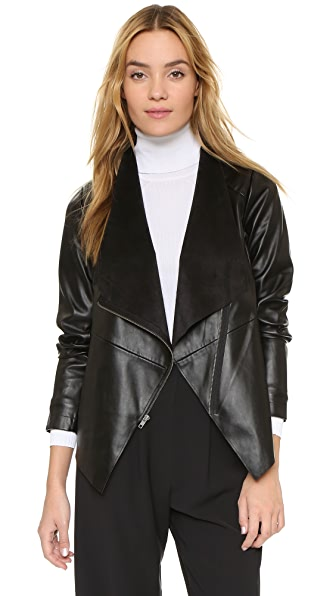 Bb Dakota Bradford Draped Front Jacket - Black