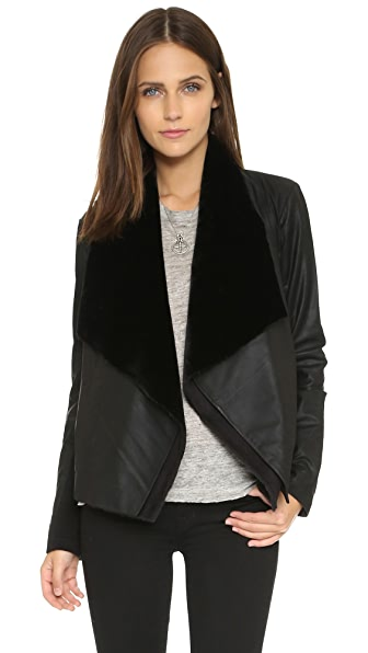 Bb Dakota Quentin Zip Off Lapel Leather Jacket - Black