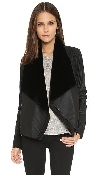 Bb Dakota Quentin Zip Off Lapel Leather Jacket - Black