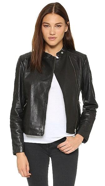 Bb Dakota Jameson Leather Moto Jacket - Black