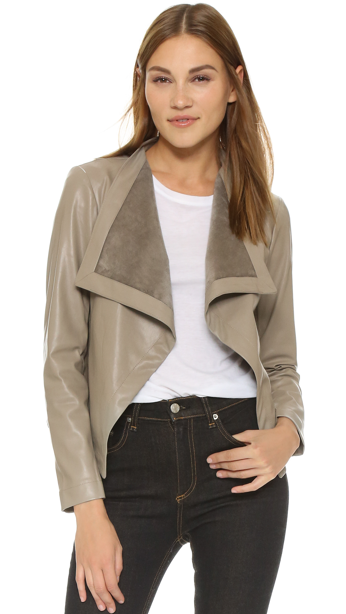 zipper drape romwe zipperfor with moto belted black drapes leather faux jacket p women cat