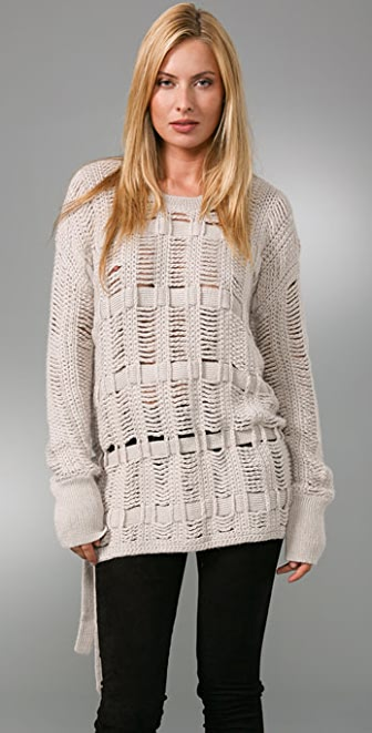 BCBGMAXAZRIA Oversized Crochet Sweater
