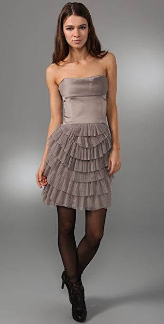 BCBGMAXAZRIA Strapless Dress with Pleated Petal Skirt