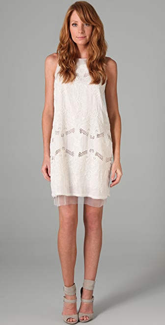 BCBGMAXAZRIA Simona Embroidered Dress