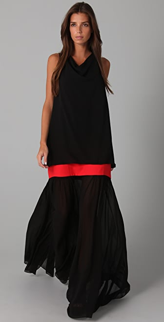 BCBGMAXAZRIA Irise Long Dress with Sheer Skirt