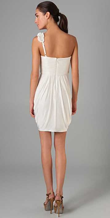 BCBGMAXAZRIA One Shoulder Rosette Dress