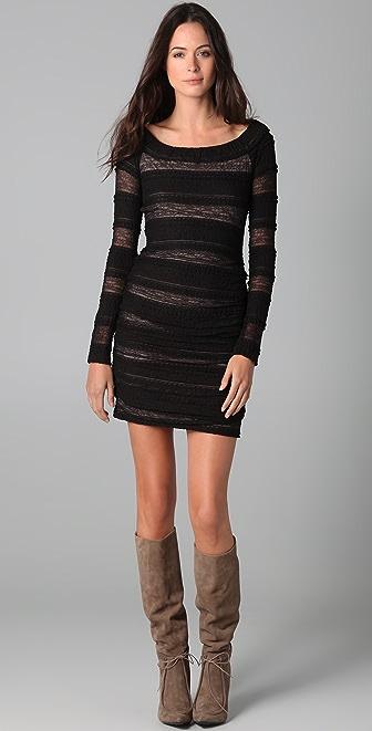 BCBGMAXAZRIA Halle Shirred Lace Dress