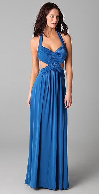 BCBGMAXAZRIA Jordana Long Cutout Gown