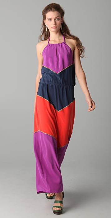 BCBGMAXAZRIA Dee Colorblock Halter Maxi Dress