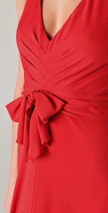 BCBGMAXAZRIA Sophia V Neck Draped Gown