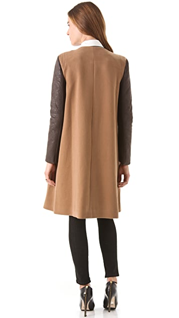 BCBGMAXAZRIA Genova Coat with Contrast