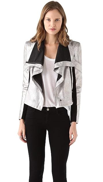 BCBGMAXAZRIA Orson Metallic Moto Jacket