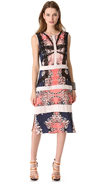 BCBGMAXAZRIA Paneled Printed Dress