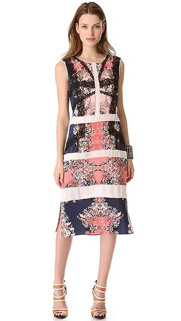 BCBGMAXAZRIA Paneled Printed Dress