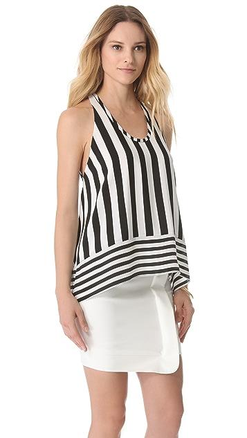 BCBGMAXAZRIA Long High Low Stripe Shirt