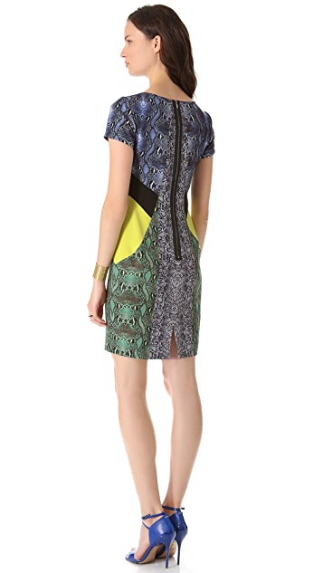 BCBGMAXAZRIA Colorblock Keyhole Dress
