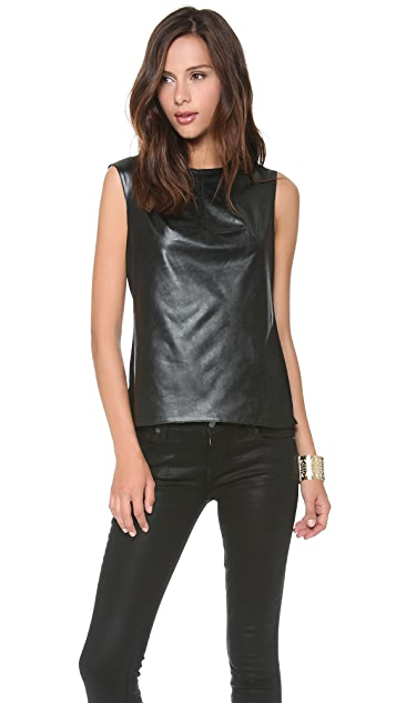 BCBGMAXAZRIA Faux Leather Shell Top
