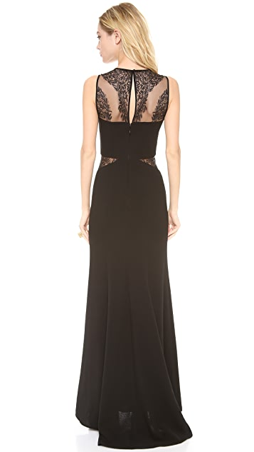BCBGMAXAZRIA Lace Inset Gown