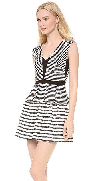 BCBGMAXAZRIA Piper Striped Peplum Dress