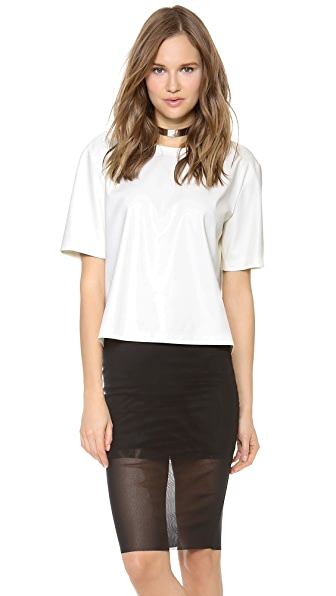 BCBGMAXAZRIA Micah Faux Leather Top