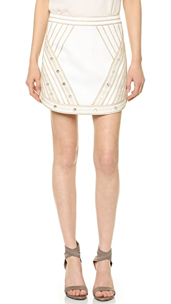 BCBGMAXAZRIA Embroidered Miniskirt