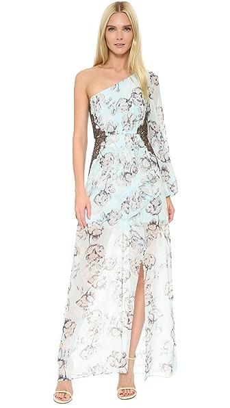 Bcbgmaxazria Sandy One Shoulder Gown - Light Azure Combo at Shopbop