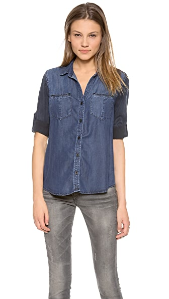 Bella Dahl Button Shirt with Contrast Sleeves