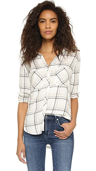 Bella Dahl Two Pocket Plaid Button Down