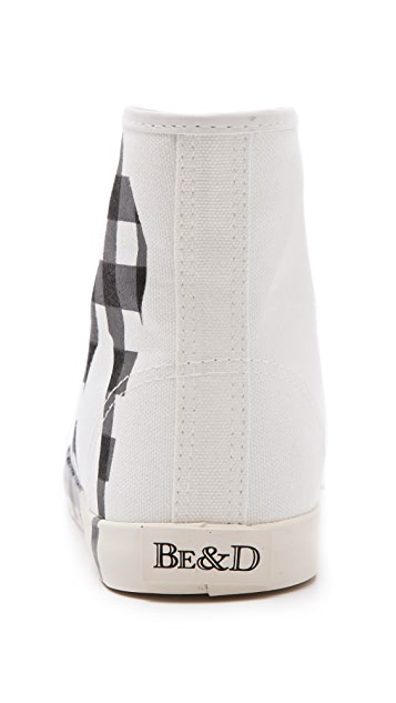 BE & D Brightlight Plaid High Top Sneakers